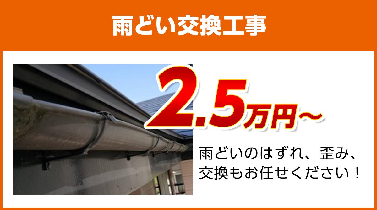 神奈川の雨どい交換工事料金 樹脂製、高耐久雨どい