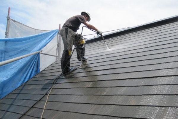 神奈川県横浜市 屋根塗装 下地処理 高圧洗浄